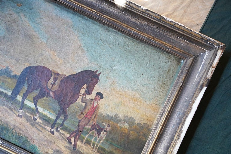 French Provincial Naïve School Oil on Canvas of a Rural Scene, 1880, M. Gilbert In Fair Condition For Sale In Bedford, Bedfordshire