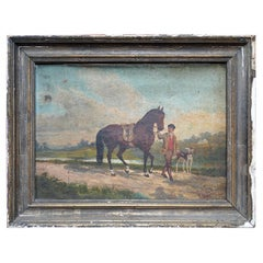 French Provincial Naïve School Oil on Canvas of a Rural Scene, 1880, M. Gilbert
