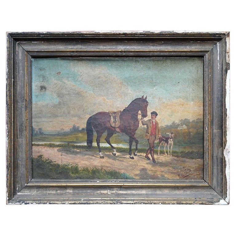 French Provincial Naïve School Oil on Canvas of a Rural Scene, 1880, M. Gilbert For Sale