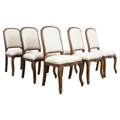 French Provincial Oak Dining Chairs, Set of Six