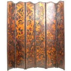 French Provincial Renaissance Style Leather Panel Screen