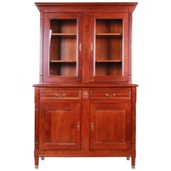 French Provincial Solid Cherry Breakfront Bookcase or Bar Cabinet by Grange