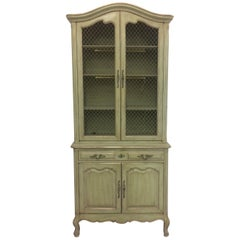 French Provincial Stepback Cupboard with Wire Mesh