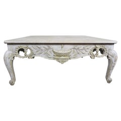 French Provincial Style Carved Wood Painted Coffee Table, circa 1930s