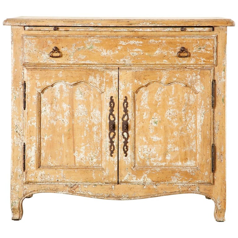 French Provincial Style Nightstand Cabinet with Pull Out Tray For Sale