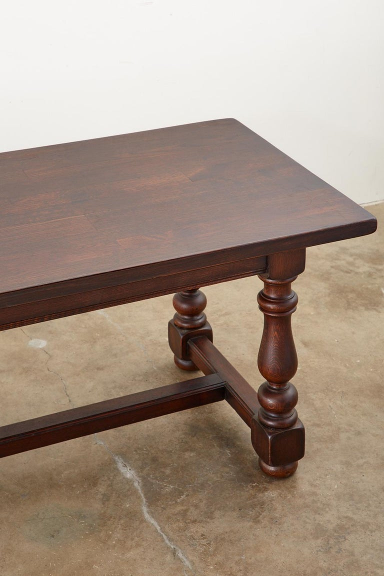 French Provincial Style Oak Farmhouse Trestle Dining Table For Sale 5