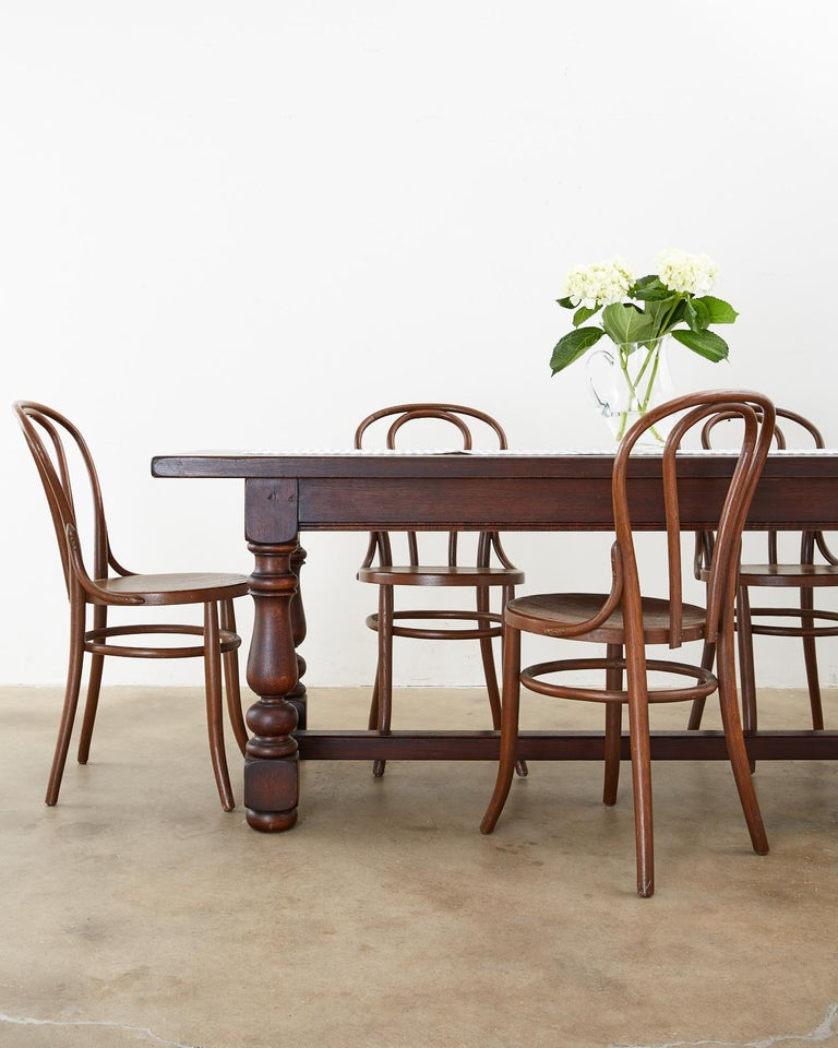 French Provincial Style Oak Farmhouse Trestle Dining Table For Sale 6