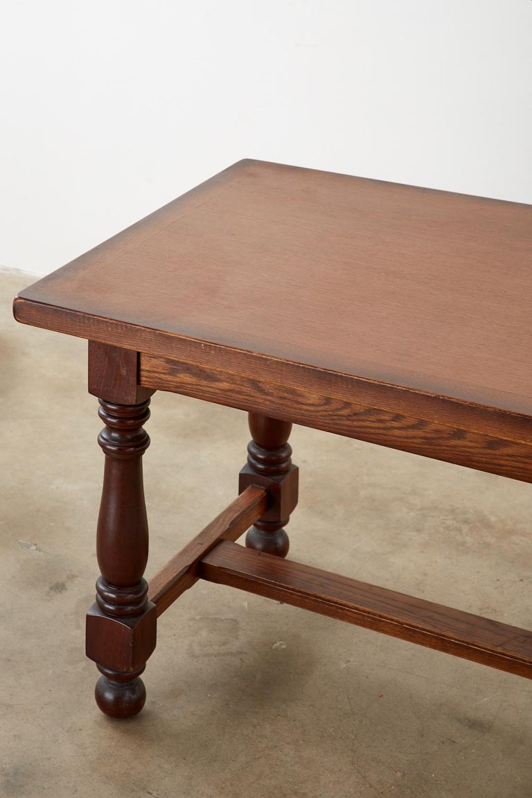 French Provincial Style Oak Farmhouse Trestle Dining Table For Sale 7