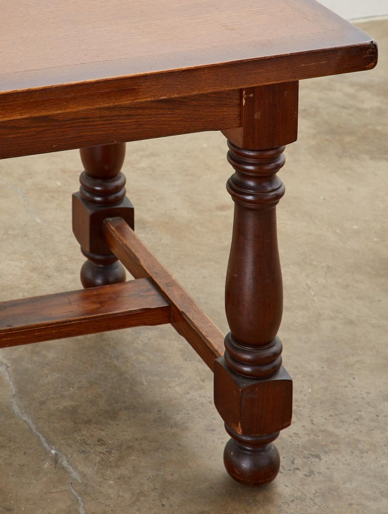 French Provincial Style Oak Farmhouse Trestle Dining Table For Sale 8