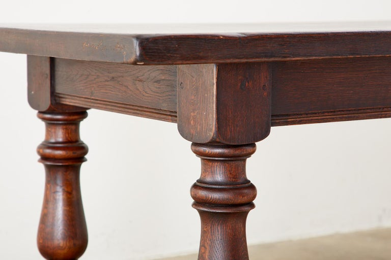 French Provincial Style Oak Farmhouse Trestle Dining Table For Sale 10
