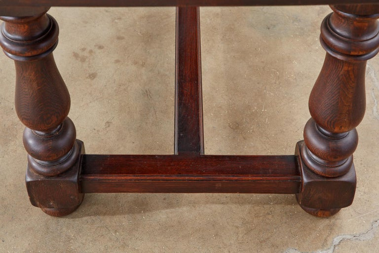 French Provincial Style Oak Farmhouse Trestle Dining Table For Sale 14