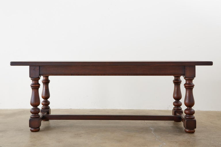 French Provincial Style Oak Farmhouse Trestle Dining Table For Sale 15