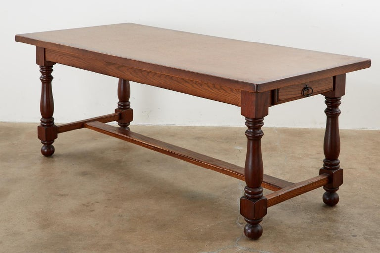 Hand-Crafted French Provincial Style Oak Farmhouse Trestle Dining Table For Sale