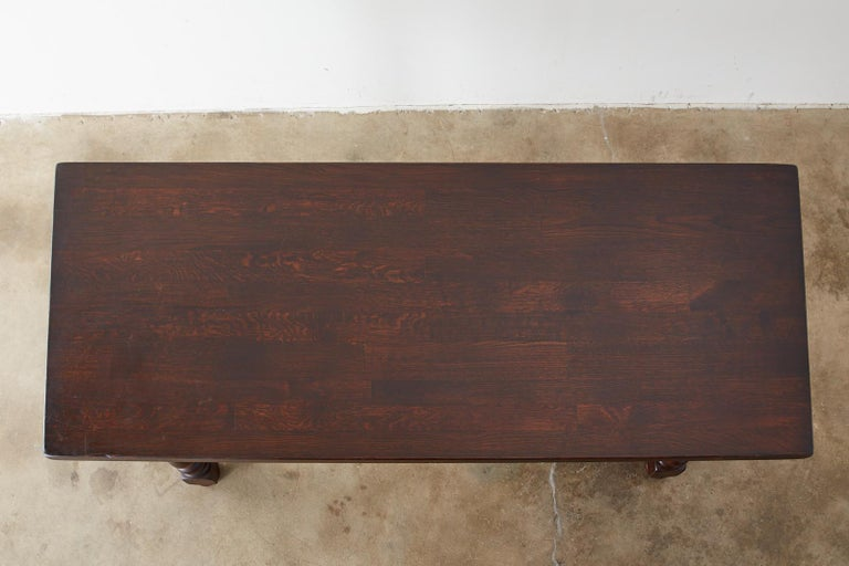 20th Century French Provincial Style Oak Farmhouse Trestle Dining Table For Sale