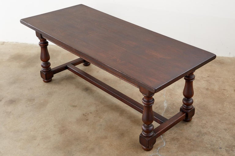 French Provincial Style Oak Farmhouse Trestle Dining Table For Sale 1