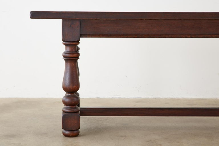 French Provincial Style Oak Farmhouse Trestle Dining Table For Sale 2