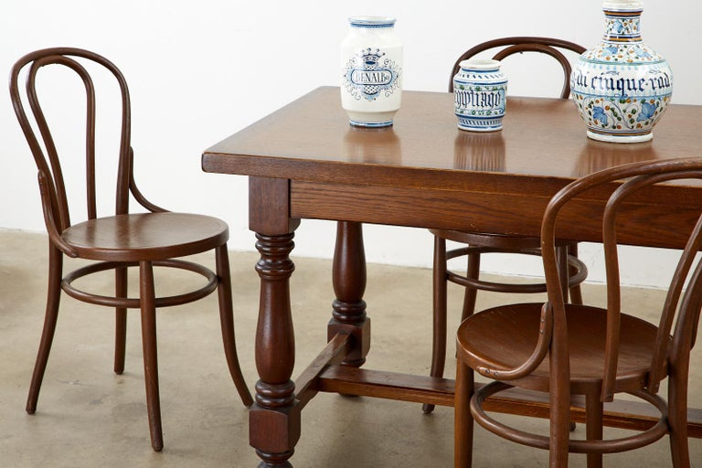 French Provincial Style Oak Farmhouse Trestle Dining Table For Sale 3