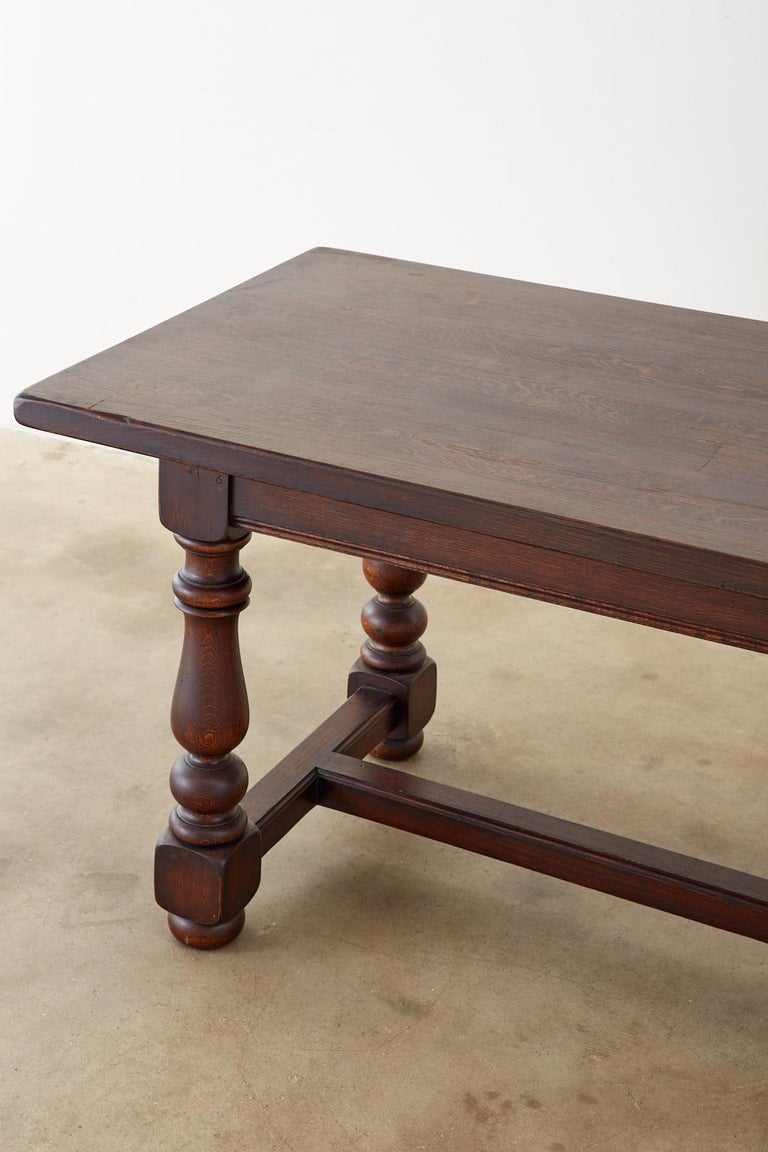 French Provincial Style Oak Farmhouse Trestle Dining Table For Sale 4