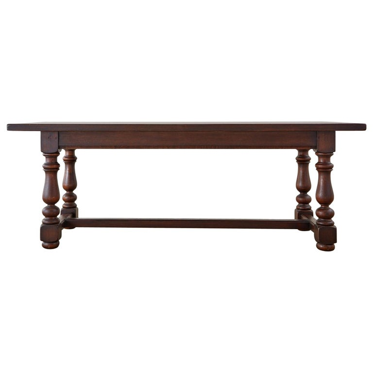 French Provincial Style Oak Farmhouse Trestle Dining Table For Sale