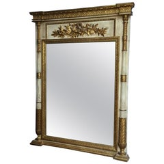 French Provincial Style Painted Trumeau Mirror