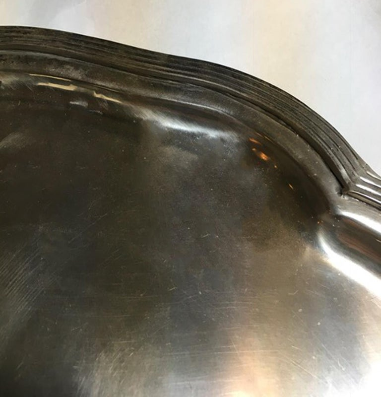 France Pewter Oval Large Tray in French Provencial Style  For Sale 6