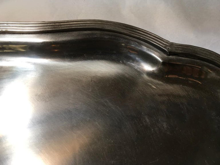 France Pewter Oval Large Tray in French Provencial Style  For Sale 1