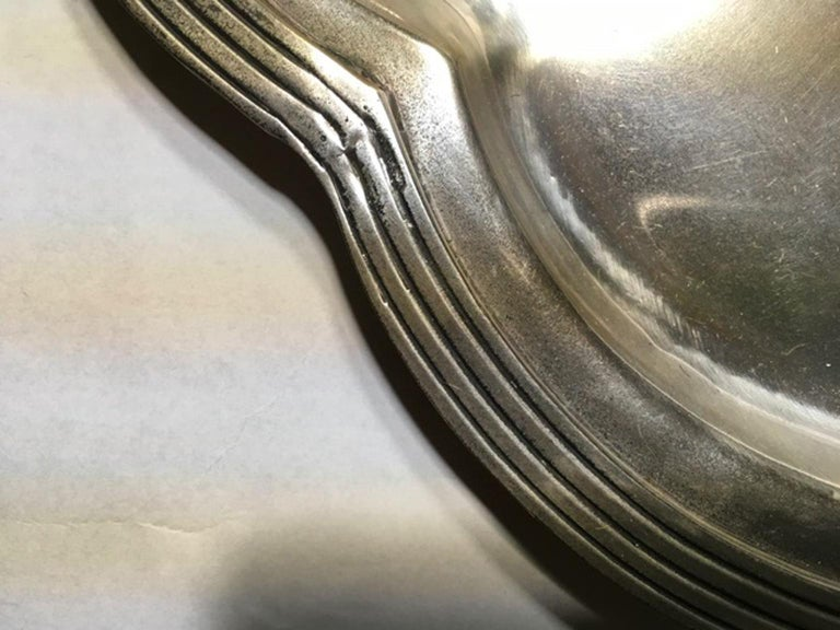 France Pewter Oval Large Tray in French Provencial Style  For Sale 3