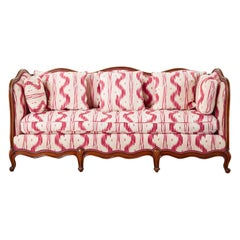 French Provincial Serpentine Canape Settee Pierre Frey Toile Ikat