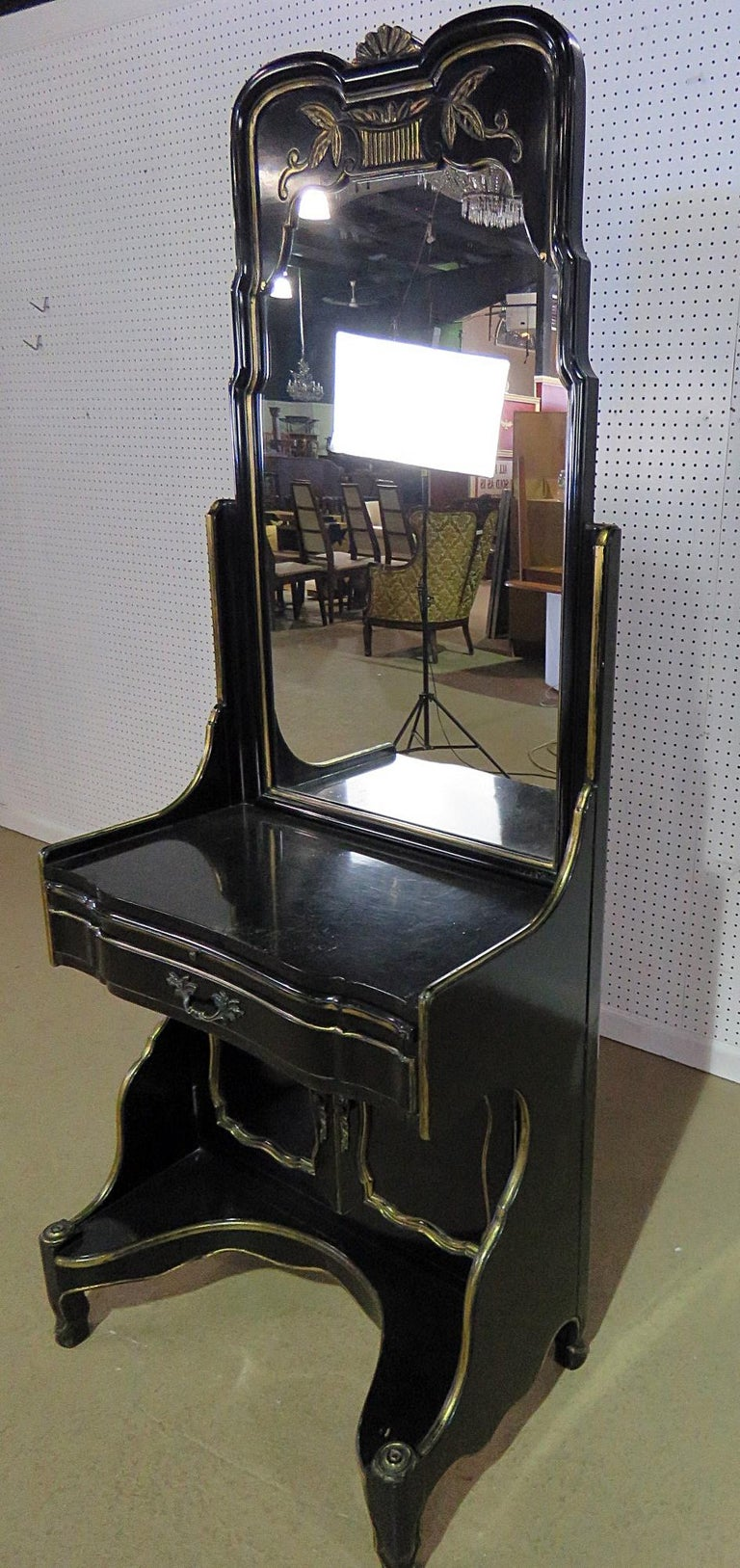 Ebonized French Provincial Style Vanity by Ruder For Sale