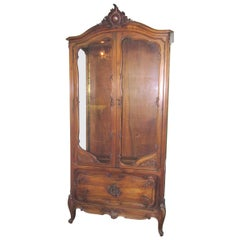 French Provincial Style Walnut Curio Cabinet