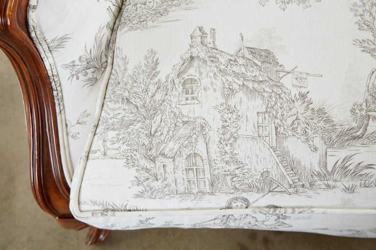 French Provincial Style Walnut Toile De Jouy Settee For Sale 6