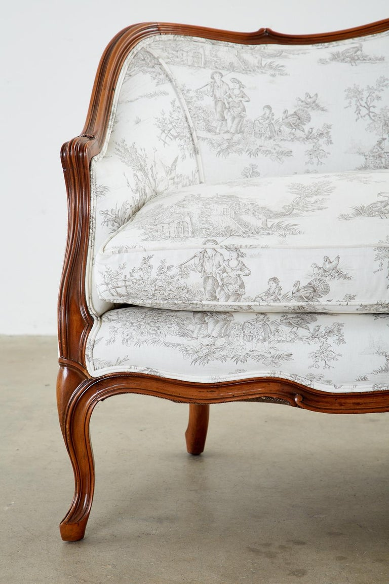 French Provincial Style Walnut Toile De Jouy Settee For Sale 8