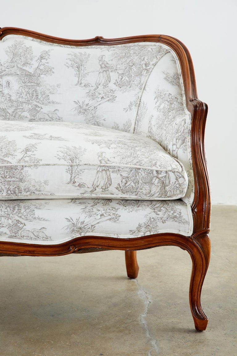 French Provincial Style Walnut Toile De Jouy Settee For Sale 9
