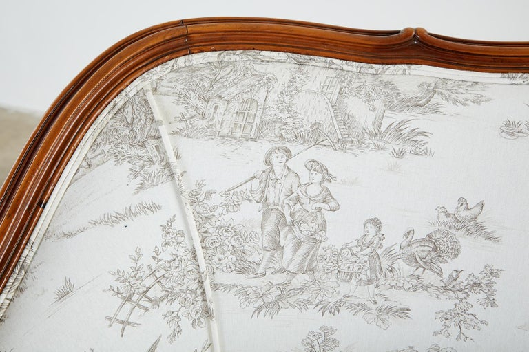 French Provincial Style Walnut Toile De Jouy Settee For Sale 12