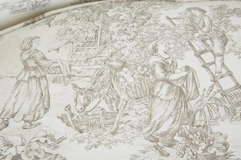 French Provincial Style Walnut Toile De Jouy Settee For Sale 13