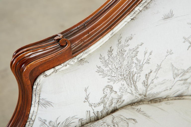 French Provincial Style Walnut Toile De Jouy Settee For Sale 14