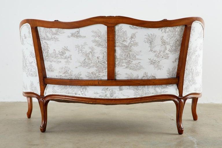 French Provincial Style Walnut Toile De Jouy Settee For Sale 15