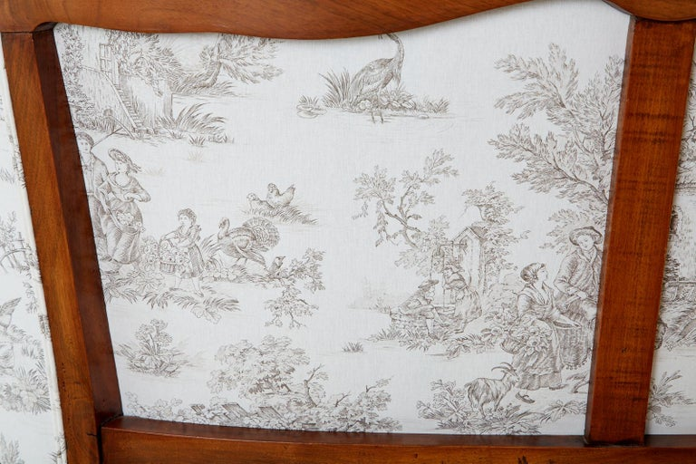 20th Century French Provincial Style Walnut Toile De Jouy Settee For Sale