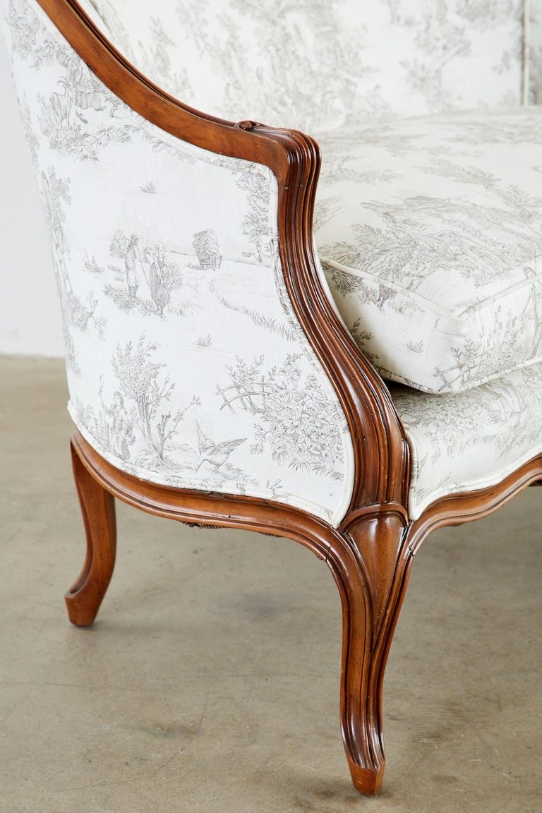 French Provincial Style Walnut Toile De Jouy Settee For Sale 1