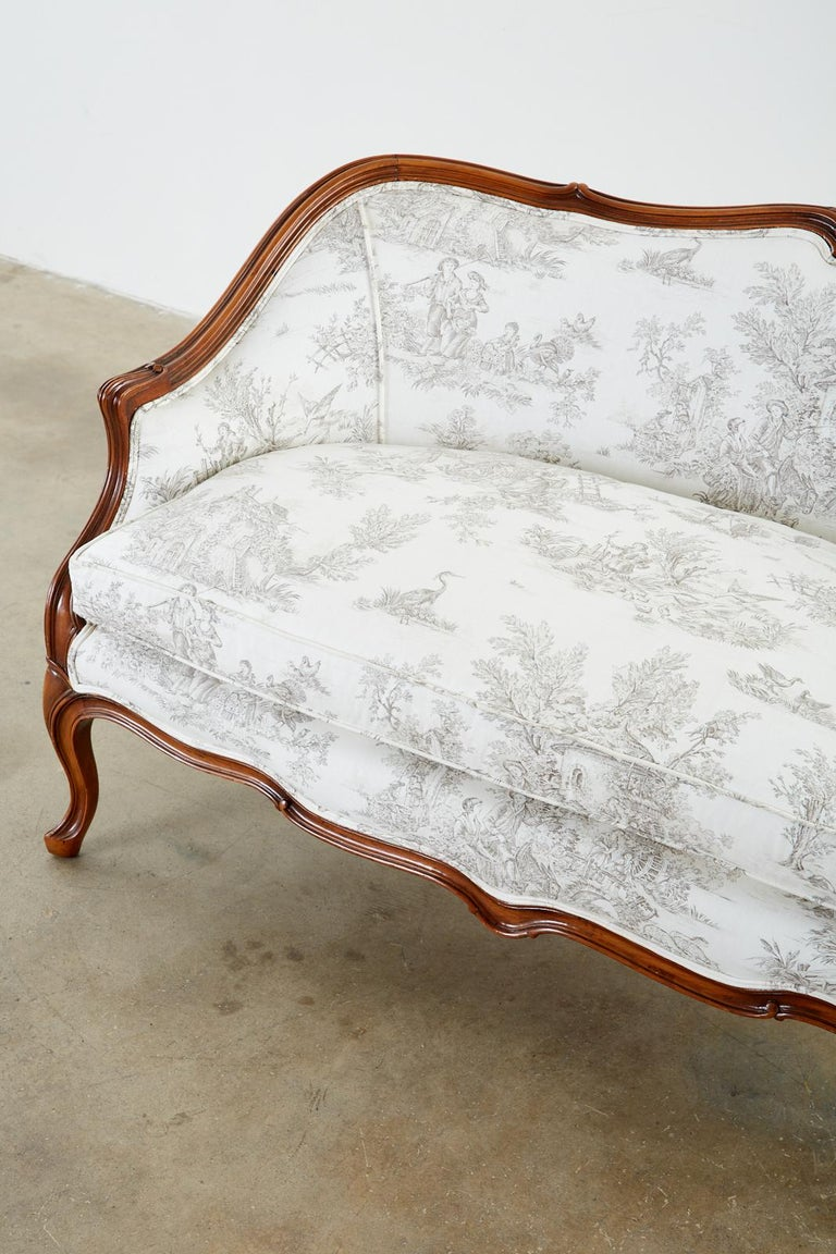 French Provincial Style Walnut Toile De Jouy Settee For Sale 3