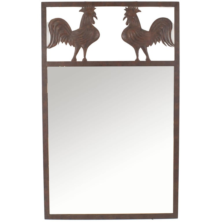 French Provincial Style Wrought Iron Wall Mirror