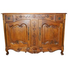 French Provincial Walnut Buffet with Drawers and Storage, 19th Century