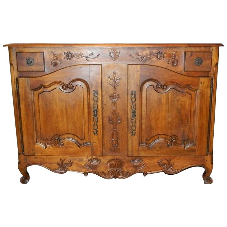 French Provincial Walnut Buffet with Drawers and Storage, 19th Century For Sale