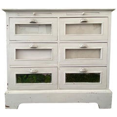 French Provincial Wooden White Painted Buffet, Authentic Rustic Sideboard
