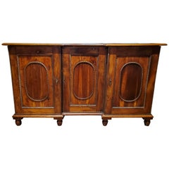 French Provincial Yew Wood Cabinet with Bronze Molding