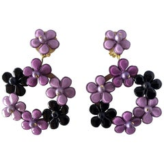 French Purple Flower Hoop Statement Earrings
