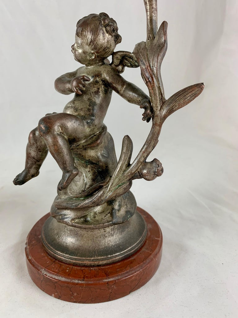 French Putti Cherub Candlesticks Signed Sylvain Kinsburger Spelter & Marble S/2 For Sale 5