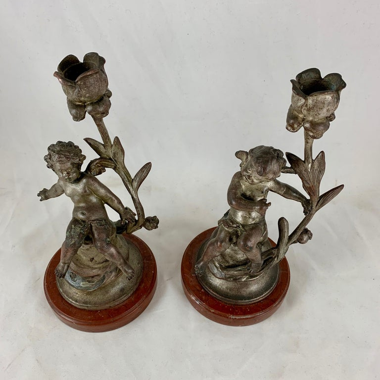French Putti Cherub Candlesticks Signed Sylvain Kinsburger Spelter & Marble S/2 In Good Condition For Sale In Philadelphia, PA