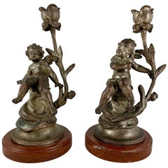 French Putti Cherub Candlesticks Signed Sylvain Kinsburger Metal & Marble a Pair