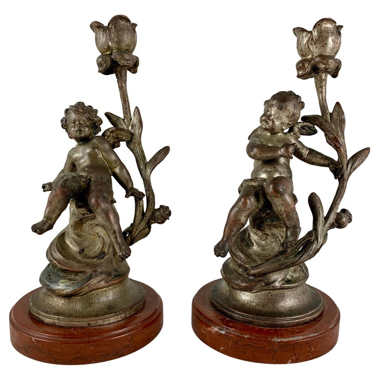 French Putti Cherub Candlesticks Signed Sylvain Kinsburger Spelter & Marble S/2 For Sale